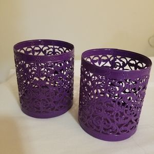 Purple Candle Holders (Set of 2)